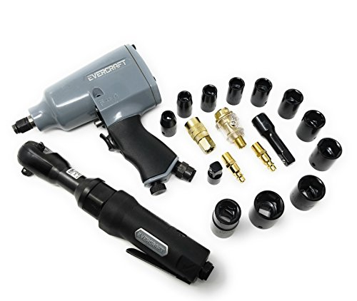 EVERCRAFT 20 PC. AIR IMPACT GUN & RATCHET SET - Perfect for the Car Lover Wanting to Make Maintenance Easier and Faster; Impact Wrench, Ratchet, Sockets, Extensions, Oiler, Quick Disconnect Kit