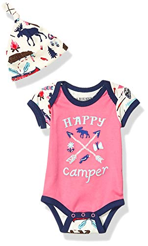 Little Blue House by Hatley Baby Girls Bodysuit and Cap, Happy Camper, 3-6 Months