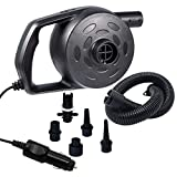chamvis Electric Air Pump, Portable Quick-Fill Air Mattress Pump for Inflatables with 5 Attachable Accessories Nozzles, 12V DC Inflator/Deflator Pump for Air Mattress Pools Balloons Boats Swimming