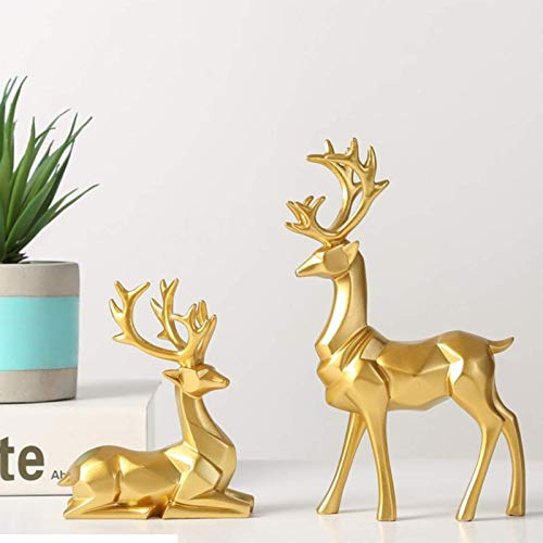 Warme Reindeer Figurines, 2 Pieces Of Resin Sitting and Standing Deer Statue Decorations for Office Bedroom (Gold)