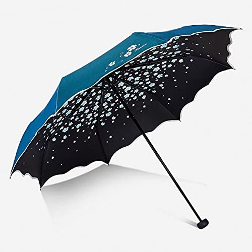 Colorido Paraguas Lluvia Moda para Mujer sombreado Completo Color Intermitente Arco Princesa Paraguas Mujer sombrilla Regalo Creativo Boda - Azul Cielo