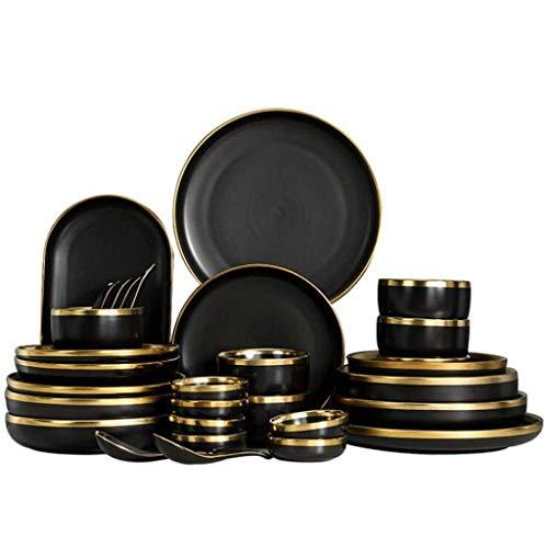 WECDS-E Juego de Platos de Porcelana Negra con Borde Dorado, Plato de Cocina, vajilla de cerámica, Platos de Comida, Ensalada de arroz, Fideos, Cuenco, Juego de Cubiertos