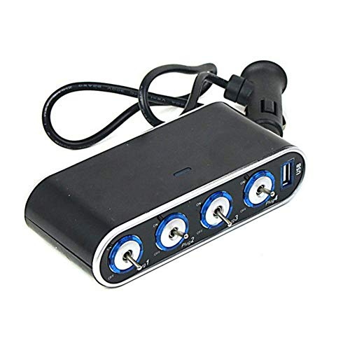 RJJX USB portátil de 12V ABS 24N 4 Puertos En 1 Unidad Multi Socket Splitter reemplazo Accesorios for Auto Ajuste for el teléfono Encendedor de Cigarrillos