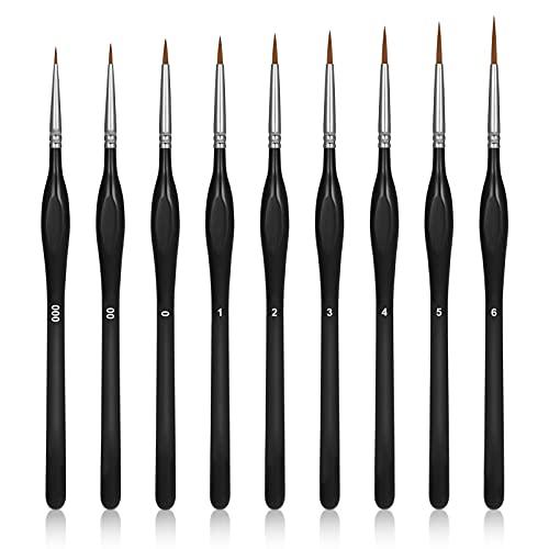 Popuppe 9 piezas de pinceles de detalles, finos, perfectos pinceles de dibujo finos, pinceles de pintura acrílica, pinceles profesionales para acuarela, pintura al óleo, pintura de tinta