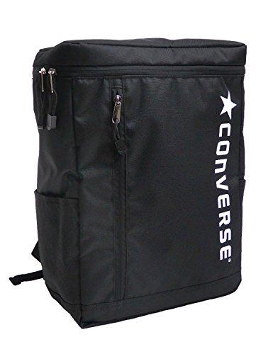 CONVERSE コンバース リュック ボックスデイパック スクエアリュック BOX型 ブランドロゴ (フリーサイズ(男女兼用), ブラック×ホワイト)