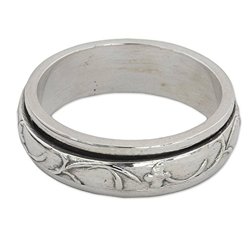NOVICA .925 Sterling Silver Floral Meditation Spinner Ring, Spinning Vines'