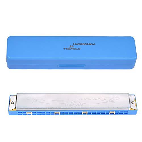 NUYI Trémolo De 24 Orificios C-Major Armónica Armónica Azul Gruesa Placa De Cobre Armónica Multifunción