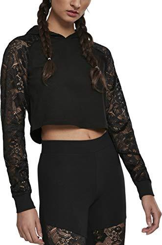 Urban Classics Damen Ladies Short Laces Hoody Kapuzenpullover, Schwarz (Black 00007), Small (Herstellergröße: S)