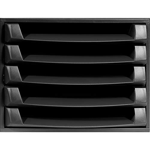 Exacompta 221014D Eco - Organizador de escritorio (plástico reciclado, 5 compartimentos, 387 x 284 x 218 mm), color negro