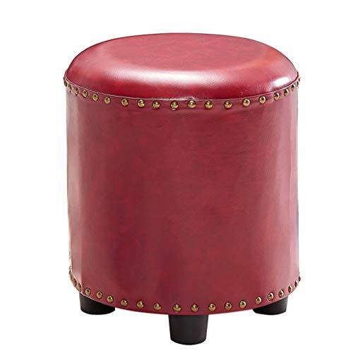 XZPENG Round Faux Leather Footstool Ottomaanse Poef gestoffeerde zitting voetsteun Makeup kaptafel Stoel Kruk for de woonkamer, slaapkamer en Office (Color : Red)