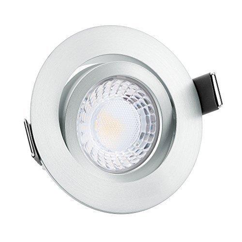 10x dimmbare, 25mm flache Aluminium LED Einbaustrahler | Extrem hell & Cri 90 | 7W statt 90W | 230V | 4000 Kelvin 550 Lumen | tageslichtweiße Lichtfarbe | matt rund | 10er Set 4000K
