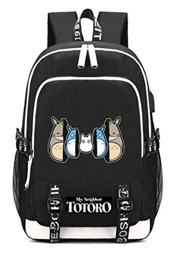WANHONGYUE My Neighbor Totoro No Face Man Anime Bolsa de Estudiante Mochila Portátil con Puerto de Carga USB y Conector para Auriculares /6