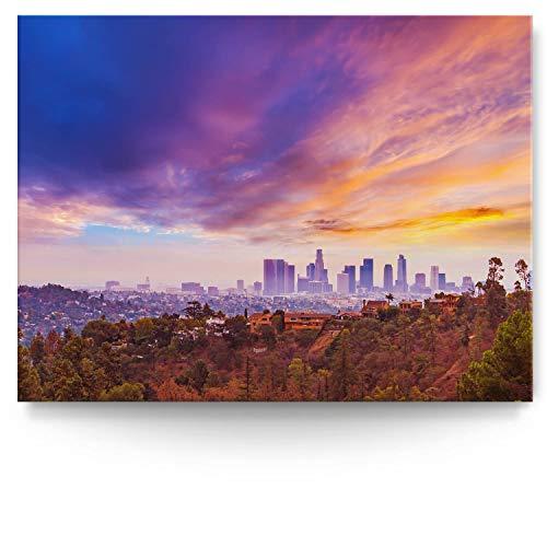 BilderKing Intensiv & Impostant 200x150cm großes Leinwand-Bild. Skyline, Los Angeles Hills als Wandbild auf 4cm tiefen Keilrahmen. Eindrucksvoller können Sie Ihren Raum Nicht in Szene setzen