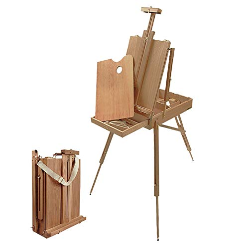 Creative Mark Monet Full French Style Wood Art Easel & 12' Sketchbox, Wooden Artist Paint Palette w/Linen Shoulder Carry Strap - Beechwood…