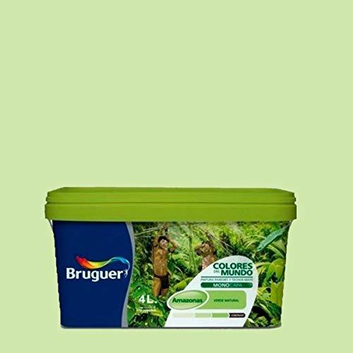 Bruguer Colores del Mundo Pintura para paredes monocapa Amazonas Verde Intermedio 4 L