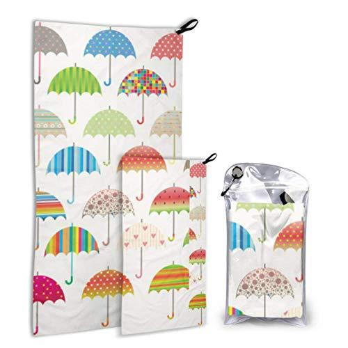 N\A Parapluie Clolrful Design Model 2 Pack Microfiber Body Towel Beach Towel Girls Set Fast Drying Best for Gym Travel Backpacking Yoga Fitnes