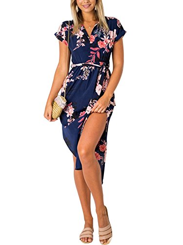 YOINS Damen Sommerkleid Lang V-Ausschnitt Maxikleider Strandkleid Strandmode, Dunkelblau, Gr.- EU 36-38/ Herstellergröße- S