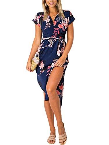 YOINS Damen Sommerkleid Lang V-Ausschnitt Maxikleider Strandkleid Strandmode, Dunkelblau, Gr.- EU 46/ Herstellergröße- XL