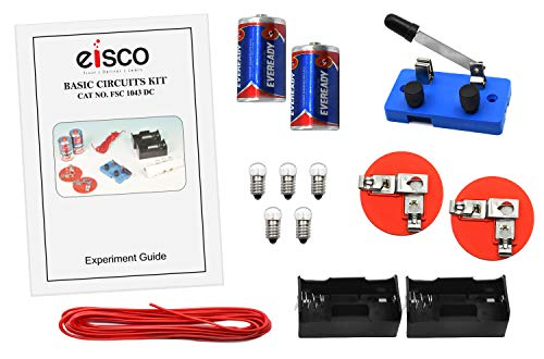 Eisco Labs Basic Beginner Circuit Kit for Teaching Series and Parallel Circuits Switch 2 #039D#039 Batteries w/Holders 2 Light Holders 5 Bulbs Bulk Wire