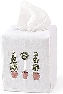 Jacaranda Living Linen/Cotton Tissue Box Cover, Three Topiary Trees, Olive