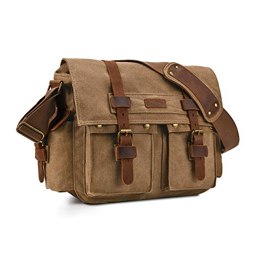 Kattee Military Messenger Bag Canvas Leather Shoulder Bag Fits 15.6 Inch Laptop