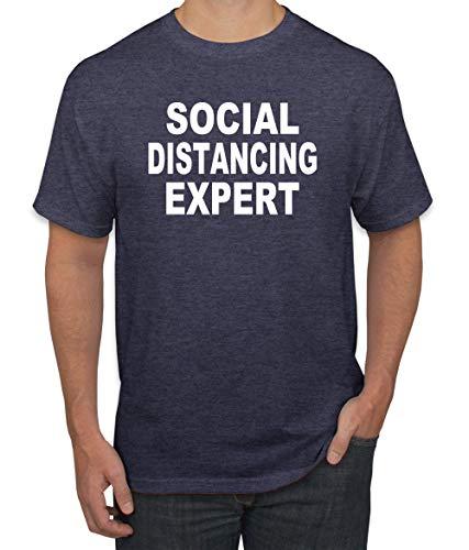 Social Distancing Expert Funny Quarantine Virus 2020 | Mens Graphic T-Shirt, Vintage Heather Navy, Large
