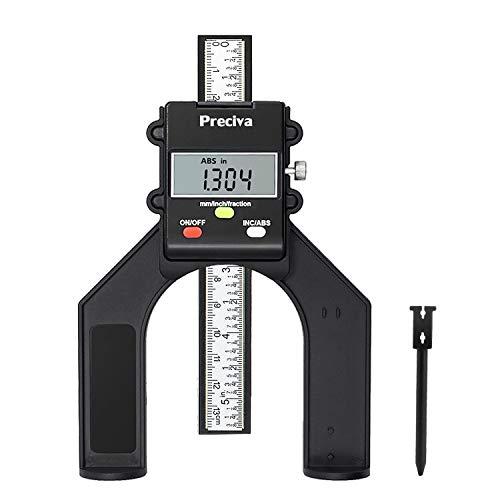 Tiefenmesser, Preciva 0-80mm Profiltiefenmesser Digitaler Tiefenmesser für Holzbearbeitung und Maschinenbau