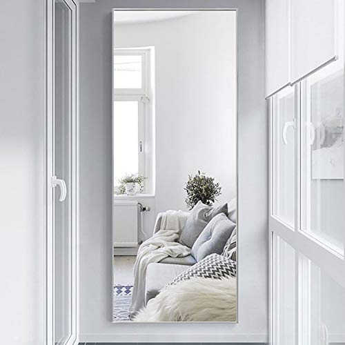 """NeuType Full Length Mirror Standing Hanging or Leaning Against Wall, Large Rectangle Bedroom Mirror Floor Mirror Dressing Mirror Wall-Mounted Mirror, Aluminum Alloy Thin Frame, Silver, 65""""x22"""""""