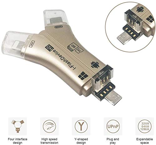 Lettore di schede 4 in 1 a forma di Y 8 pin/micro USB/Type-C Port TF/SD per Nokia Lumia 930