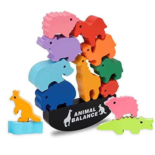 Montessori Dinosaurio De Madera Animal Bloques Apilables Juego De Equilibrio Juguetes para Niños Pequeños
