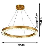 FYYONG 漂う ラグジュアリー現代天井のシャンデリアのためにリビングルームブラッシュゴールドリングクリスタルランプ大ホームデコレーションクリスタル照明器具 (Emitting Color : Warm light 3000K, Lampshade Color : Dia70cm)