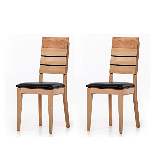 Marca Amazon -Alkove - Hayes - Set de 2 sillas de madera maciza con asiento tapizado (haya)