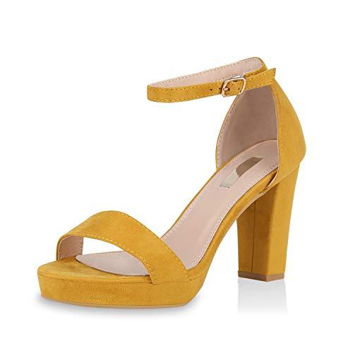 SCARPE VITA Damen Pumps Riemchensandaletten Plateau Sandaletten Elegante Sommer Party Schuhe Wildleder-Optik High Heels Absatzschuhe 170683 Gelb 40