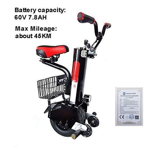 LQQ Motorized smart Balance Scooter Elektro-Einrad Scooter Selbst Balancing 500W Erwachsene Einzel-Rad-Motorrad Mit Twin Wheel, Mit Stützrad Mit CE-Zertifizierung 2020
