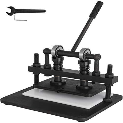 VEVOR Máquina de Corte de Cuero Máquina de Corte Manual de Cuero de 10.25x6 Pulgadas con Placa Superior para Varios Materiales Máquina de Estampado de Cuero Manual Negra