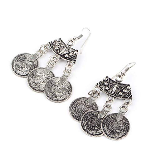 Jewelry Vintage Silver Turkish Coin Earrings floral design Gypsy Beachy Ethnic Tribal Festival Jewelry Turkish Bohemian Earrings Wedding