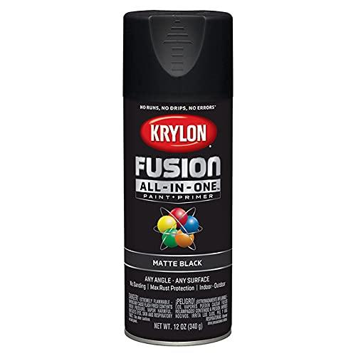 12 Oz Krylon K02754007 Black Fusion All-In-One Paint & Primer Spray Paint, Matte, 6-Pack