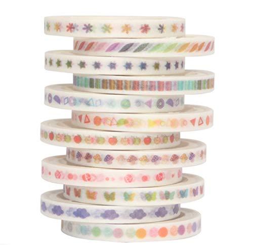 Yubbaex Skinny Washi Tape Set de cintas decorativas para manualidades, manualidades, revistas de bala, planificadores, álbumes de recortes, envoltura Degradado delgado 12 Rollos