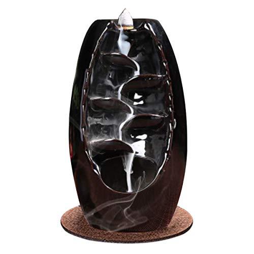 Soporte de cerámica para incienso de cascada de incienso, quemador de incienso de reflujo para salón, decoración, aromaterapia, decoración del hogar, quemador de incienso, color negro