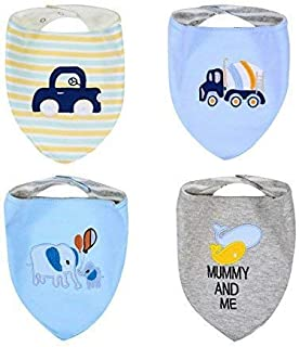 BENVAX Baby Bandana Drool Bibs for Teething and Drooling Bib, 4 Pack Gift Set, Burp Cloths for Girls and Boys, Eco Friendly, Waterproof, Washable (Boy #1)