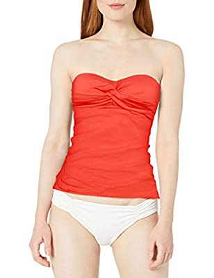 Anne Cole Women's Twist Front Shirred Bandeau Tankini Swim Top, Coral, Medium
