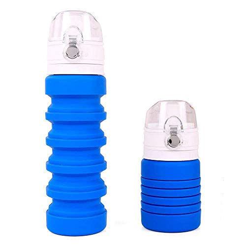 wishpower Lightweight Travel Water Bottle Collapsible Silicone BPA Free Foldable Best Water Bottle for Hiking, Sports, Outdoor and Running, 7.5-19oz