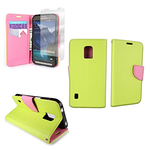 Samsung Galaxy S5 Active Wallet Phone Case and Screen Protector | CoverON (CarryAll) Pouch Series | Tough Textured Exterior (Neon Green / Light Pink) Flip Stand Protective Cover with Credit Card and Cash Holder Slots for Samsung Galaxy S5 Active G870 (Will Not Fit Other S5 Models)