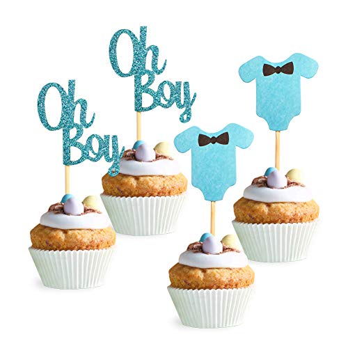 Unimall 24 Stück Oh Boy Cupcake Topper Baby Jumpsuits Baby Shower Cupcake Topper für Jungen Geburtstag Party Dekorationen Babyparty Dekorationen