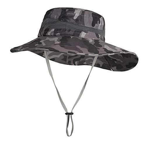 ZLYC Sombrero impermeable de camuflaje para hombre con ala ancha plegable de malla para pesca al aire libre - negro - Large