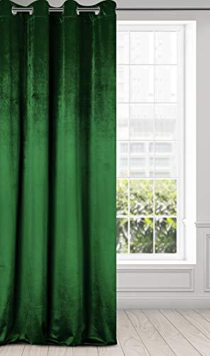 Eurofirany Vorhang Samt Velvet Schimmernd Gardine-Kräuselband Weich Schlafzimmer Wohnzimmer Lounge Edel, Dunkelgrün, 140x250 cm