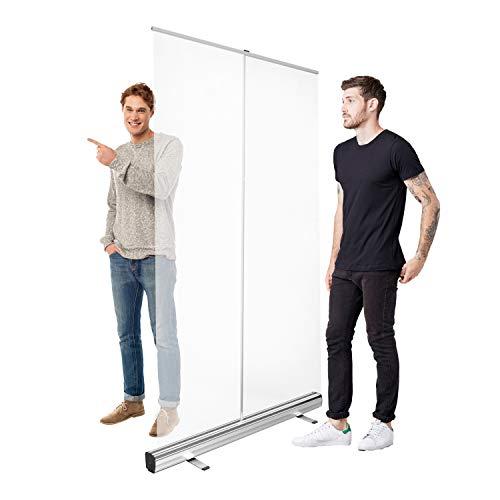 HoWar Roll UP Spuckschutz | Transparent-Banner 100x200cm | Spuckschutz Stellwand transparente Folie | Spritzschutz Trennwand Abtrennwand | Schutzschild | Folie als Schutzschirm Virenschutz