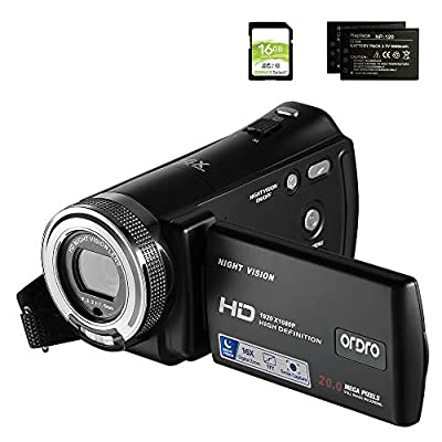 Camcorders ORDRO HDV-V12 HD 1080P Video Camera Recorder Infrared Night Vision Camera Camcorders with 16G SD Card and 2 Batteries by ORDRO