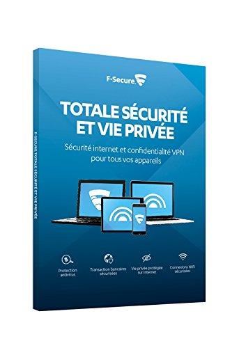 F-SECURE TOTAL FCFTBR2N003FR - Sicurezza Internet e VPN per smartphone, tablet, PC e Mac, 3 dispositivi 2 anni