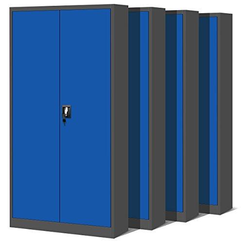 Jan Nowak by Domator24 4er Set Aktenschrank XL C001H Büroschrank Metallschrank Werkzeugschrank Stahlblech Pulverbeschichtet Flügeltüren Abschließbar 195 cm x 90 cm x 40 cm (anthrazit/blau)